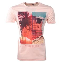 Fisher and Bennet - Trendy heren T-shirt met Korte Mouw - Zalm