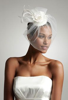 Sale David s Bridal Vintage Hat with Attached Flowers and Blusher Style  White ac5088cc2d0