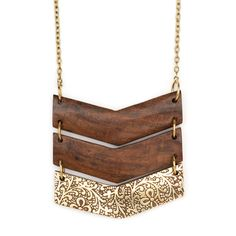 297e69e7ab8c Fair trade chevron-shaped pendant necklace, wood and gold-plated brass.  Handcrafted