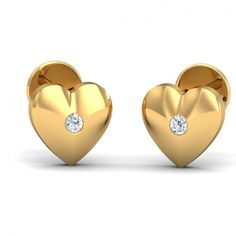This pair of earrings is the dream of every teenage girl. A cute & solid gold heart shaped tiny studs with a small diamond studded on it. Go ahead & customize it with options in Gold Purity (18K, 14K), Diamond Grade (SI-HI, VS-GH, VVS-GH) & Metal Colour (Yellow, White, Rose) of your liking. Create your own unique jewelry. #Cheeky #Heart #Diamond #Gold #Stud #Earrings