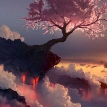 arbre  ღღ TREE ON LEDGE IN SUNSET