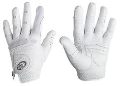"""Bionic Golf Glove   Anatomical relief pads even the surface of the hand to naturally promote a lighter grip  Motion zones over the knuckles and web zones between the fingers promote natural, unrestricted hand movement.  Web zones let air circulate to help hands """"breathe,"""" keeping them cool and dry even on the hottest summer days.    In fact, Bionic lasts up to four times longer than conventional golf gloves."""