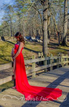 Red dress maternity session
