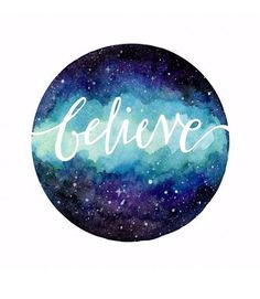 Believe Watercolor Galaxy Art Print by Aishwarya Vohra - X-Small Art Inspo, Painting Inspiration, Galaxy Drawings, Art Drawings, Watercolor Galaxy, Watercolor Paintings, Watercolours, Galaxy Painting Diy, Space Watercolor