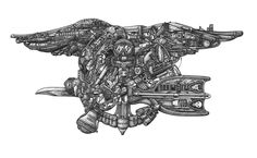 Navy SEALs Trident: honoring the history, courage and valor of these elite sailors. Navy Seal Tattoos, Navy Seal Trident, Warhammer 40000, Navy Seals, Back Tattoo, Cool Drawings, Fine Art Prints, Lion Sculpture, Statue