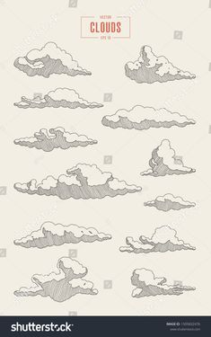 Find Collection Engraved Style Clouds Hand Drawn stock images in HD and millions of other royalty-free stock photos, illustrations and vectors in the Shutterstock collection. Thousands of new, high-quality pictures added every day. Pencil Art Drawings, Art Drawings Sketches, Easy Drawings, Ink Illustrations, Tattoo Drawings, Tattoos, Cloud Drawing, Painting & Drawing, Wave Drawing
