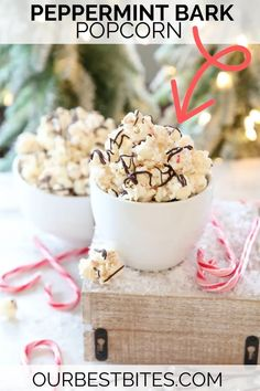 Makes a deliciously huge batch of the perfect peppermint popcorn — excellent neighbor gift idea! | Our Best Bites #PeppermintPopcorn #Christmas Treats #ChristmasPopcorn #OurBestBites #Peppermint