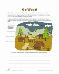 Look at this scene of a mining town during the Gold Rush and create an advertisement that persuades people to travel to California.