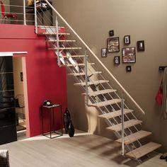 Rampant d 39 escalier avec main courante en tube inox bross et remplissage - Montage escalier leroy merlin ...