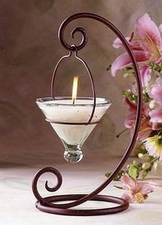 livingExclusive — Glowing Home — Hanging Votive Rustic Candle Holder Wrought Iron Candle Holders, Rustic Candle Holders, Wrought Iron Decor, Wrought Iron Gates, Candle Lanterns, Candle Sconces, Chandelier Bougie, Iron Furniture, Candle Stand