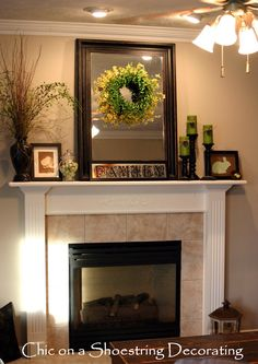 Image from http://oaktreelife.com/wp-content/uploads/2015/03/decoration-ideas-killer-picture-of-fireplace-decoration-using-round-green-wreath-mantel-decoration-including-cream-porcelain-tile-fireplace-surround-and-white-wood-shelf-over-fireplace-good-looking-p.jpg.
