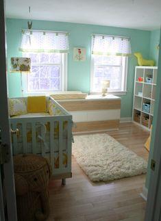 wall color like White Nursery, Nursery Neutral, Nursery Room, Girl Nursery, Girl Room, Nursery Decor, Bright Nursery, Nursery Ideas, Aqua Nursery