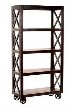 This bookcase features solid mango wood construction, soft but raw textured, dark espresso finish, safety pin stop for added security, aged metal cup pulls and cast iron wheels for a striking transitional style.