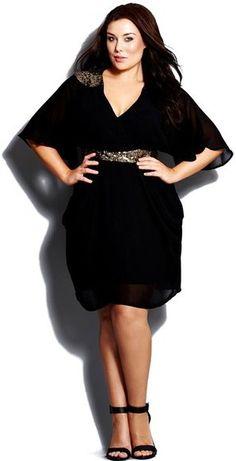 Plus Size Sequin Wrap Dress - Plus Size Cocktail Dress
