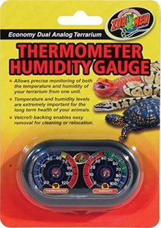 Reptile Cage Analog Temperature Thermometer Humidity Meter Gauge Velcro NEW  #ZooMed