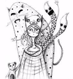 Girl with monsters  |  Design: www.pinkelephant.pl /layout /portfolio /design /monsters /sketch /girl