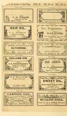 New sample book of cut and gummed druggists' labels._ 1874