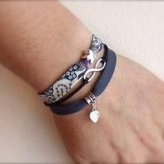 Bracelet liberty infini étoile et coeur made with love - tissu bleu marine blanc violet -