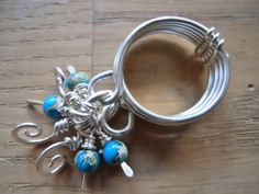 Silver Dangles Ring Wire Wrapped Turquoise Blue by OurFrontYard, $21.77
