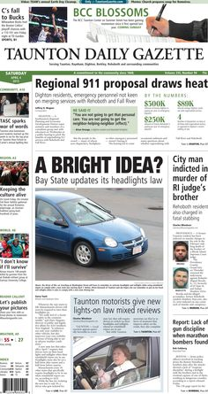 The front page of the Taunton Daily Gazette for Saturday, April 4, 2015.
