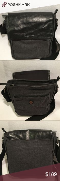 """🦋 SALE! Fossil Black Leather & Wool Messenger Bag Fossil Messenger Bag - black leather & charcoal gray wool. Men's or Women's style Messenger bag / school bag / briefcase / travel. 11"""" x 11"""" x 3"""". Top flap with magnetic closure. Front pouch. Zippered interior. Interior pouches for phones, laptop, iPad, etc. Keys clip. Adjustable shoulder strap. Max strap drop approx 23"""". 🦋 BUNDLE & SAVE! 🌷CLOSET CLEAR-OUT TIME! ACCEPTING OFFERS! 🌻 JOIN MY FOLLOW GAME! LIKE FOLLOW SHARE! 🌸 Fossil Bags…"""