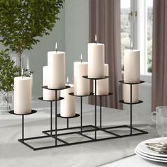 online shopping for Metal Candelabra Darby Home Co from top store. See new offer for Metal Candelabra Darby Home Co Pillar Candle Holders, Candle Stand, Pillar Candles, White Candles, Candlestick Holders, Fireplace Candelabra, Glass Candelabra, Fireplace Candle Holder, Wooden Lanterns