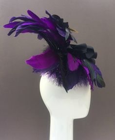Purple Black Feather Flower Fascinator Wedding Cocktail Hat