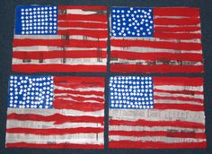 USA // MATERIALS: Newspaper and acrylic paint // DIRECTIONS: Cut 2 large rectangles from your newspaper and give one to your Learner and stay with one. Show him/her a picture of the American flag and ask them to choose the acrylic colors that he/she will need to replicate it.