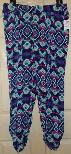 Womens CHARLOTTE RUSSE Geometric Design BLUE Palazzo Pants Size X-LARGE WorkOut  | eBay