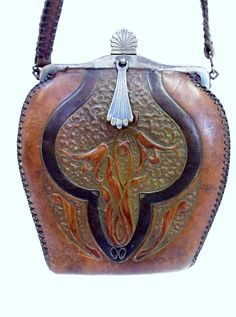 Antique Jemco Tooled Leather Purse Turnloc Clasp by donDiLights
