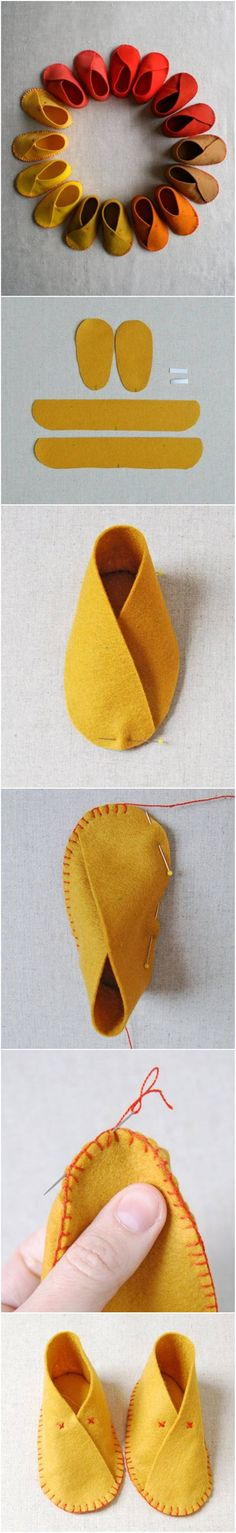How to DIY Easy Felt Baby Shoes #craft #sewing #baby #shoes