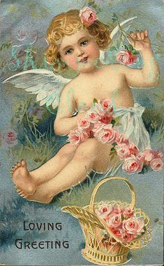 Magic Moonlight Free Images: Angels and old Cards! Valentine Cupid, Valentine Images, Vintage Valentine Cards, Vintage Greeting Cards, Vintage Holiday, Vintage Postcards, Images Vintage, Vintage Pictures, Angel Flowers
