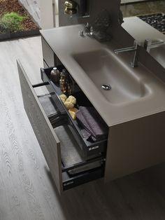 Escape new by Arcom Bathroom Countertop Design, Bathroom Interior Design, Wc Bathroom, Bathroom Vanity Cabinets, Door Design, House Design, Interior Design Inspiration, Home Renovation, Interior Architecture