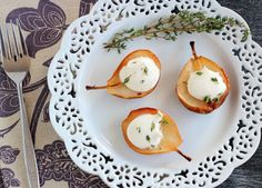 Roasted Seckel Pears with Vanilla Mascarpone Cream and Thyme