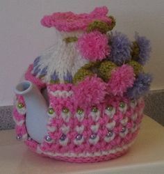 pink and lavender puffs hand knitted crocheted от peerietreisures