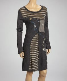 Take a look at this Moka Apparel Gray Patchwork Long-Sleeve Dress on zulily today!