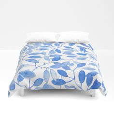 Watercolor Leafs Duvet Cover by Fernanda Schallen. Worldwide shipping available at Society6.com. Just one of millions of high quality products available.