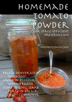 Recipe: Tomato Powder: How to Make & Use Powder from Dried Tomatoes - Fresh Bites Daily Dehydrated Vegetables, Dehydrated Food, Veggies, Homemade Spices, Homemade Seasonings, Food Storage, Canning Recipes, Pork Recipes, Canning 101
