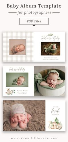 Gender neutral baby album template - easy to customize in Photoshop! Newborn Photography Poses, Photography Tricks, Baby Photo Books, Photography Templates, Text On Photo, Baby Album, Gender Neutral Baby, Woodland Baby, Photo Backgrounds