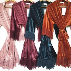 Velvet and Lace Kimono Bridal Robe Available in Four Colors, Velvet Wedding Robes For the Bridal Party, Unique Bridesmaid Robes Wedding Day Robes, Bridal Party Robes, Lace Bridal Robe, Babydoll, Bridesmaid Robes, Burnt Orange Bridesmaid Dresses, Burnt Orange Weddings, Unique Bridesmaid Dresses, Winter Wedding Bridesmaids