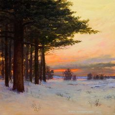 """""""Winter's Warm Welcome"""" - 6""""x6"""" Oil on panel. Private Collection"""