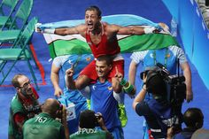 Fazliddin Gaibnazarov of Uzbekistan celebrates victory over Lorenzo Sotomayor Collazo of Azerbaijan in the Men's Light Welter (64kg) Final Bout on Day 16 of the Rio 2016 Olympic Games at Riocentro - Pavilion 6 on August 21, 2016 in Rio de Janeiro, Brazil.