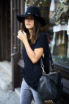 Blue jeans,black tee shirt and black bag