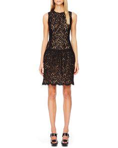 Drop-Waist Lace Dress, Black