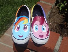 These are My Little Pony Friendship is Magic inspired hand painted shoes. This design has Rainbow Dash and Pinkie Pie on the fronts. If you would