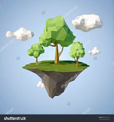Low Polygonal Geometric Trees And Island. Abstract Vector Illustration, Low Poly Style. Stylized Design Element. Background Design For Banner, Poster, Flyer, Cover, Brochure. - 296025611 : Shutterstock