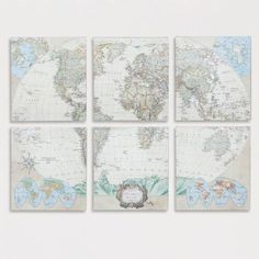 One of my favorite discoveries at WorldMarket.com: Six-Piece World Map Set, Set of 6