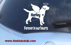 Labrador Retriever Custom Angel Wings and Halo Silhouette Vinyl Sticker - personalized Car Decal