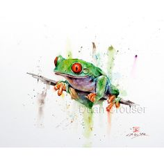 TREE FROG Watercolor Print, Frog Art, Frog Painting, by Dean Crouser ($25) ❤ liked on Polyvore featuring home, home decor, wall art, giclee painting, water colour painting, watercolor painting, ink painting and textured painting