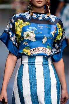 Mixed Prints & Pattern Fashion - island map blouse with blue stripes skirt // Dolce & Gabbana
